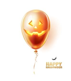 Unheimlicher luftballon des halloweenfeiertags mit gruseligem laternengesicht