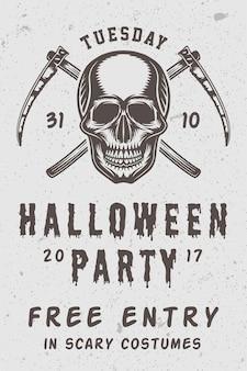 Unheimliches retro-halloween-retroplakat der weinlese mit totenkopf- und kreuzsensen monochrome grafik