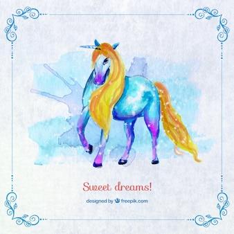 Unicorn gemalt mit wasserfarben
