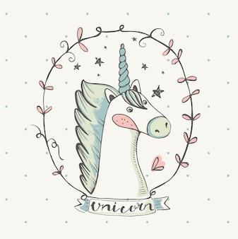 Unicorncartoon handgezeichnet kann für baby-t-shirt-druck-mode-print-design verwendet werden, die kinder tragen