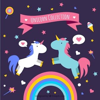 Unicorns in der liebe mit den elementen