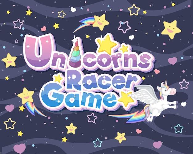 Unicorns racer game logo oder banner