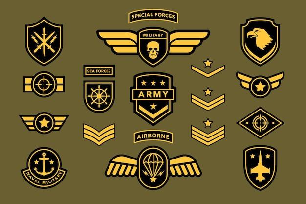 Uniform-etikett, tag, streifenabzeichen der spezialeinheit. navy, airborne soldat militär tarnung patch set mit adler, stern, schwert, schild, jet vector illustration isoliert auf weißem hintergrund
