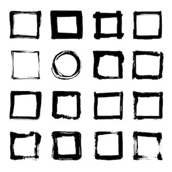 Uniqiue handgezeichnete formen quadrate für logo. isolierte darstellung.