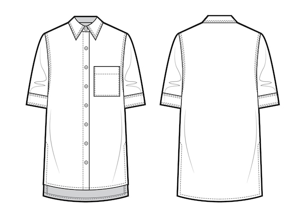 Unisex-shirt mit kurzen ärmeln. vektor-illustration.