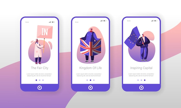 United kingdom politics mobile app seite onboard screen set.