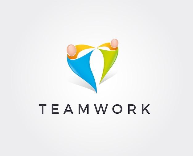 Unity people logo vorlage. mann- und frauenfiguren in form der liebe