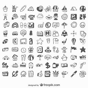 Universal-hand gezeichnet reihe von icons