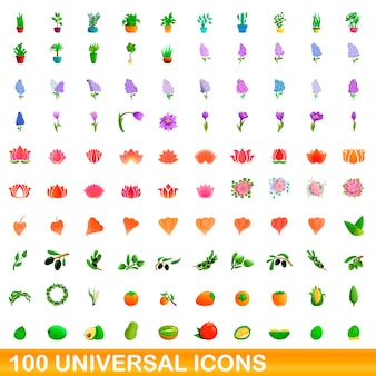 Universal icons set, cartoon-stil