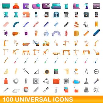 Universal icons set, cartoon-stil
