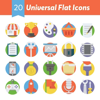 Universelle flache icons