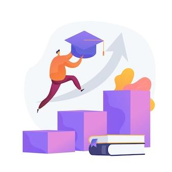 Universitätsabschluss. leistung, hochschulbildung, akademischer grad. erfolgreiches studentenspringen, mörtelbrett haltend. persönliche entwicklung.