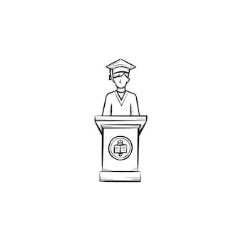 Universitätsabschluss-student hand gezeichnete umriss-doodle-symbol. student, der eine rede bei der graduierung der universitätsvektorskizzenillustration für druck, netz, mobile lokalisiert auf weißem hintergrund hält.
