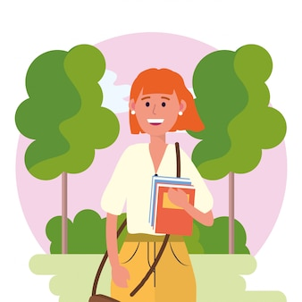 Universitätsfrau mit büchern und bäumen mit büschen