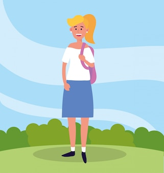Universitätsfrau mit freizeitkleidung und rucksack