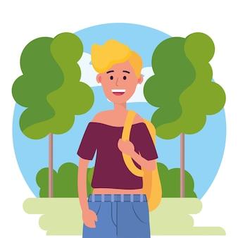 Universitätsfrau mit rucksack und bäumen mit büschen