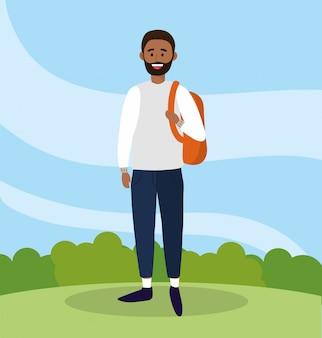 Universitätsmann mit bart und rucksack zu studieren