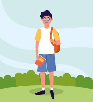 Universitätsmann mit rucksack und studienbüchern