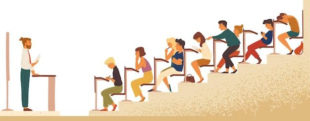 Universitätsvorlesung, flache illustration des unterrichts. college-studenten und lehrer-zeichentrickfiguren