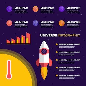 Universum infografik mit raumschiff und planeten