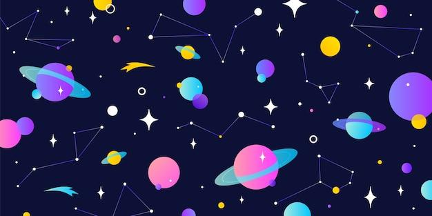 Universum, kosmos und weltraumhintergrund mit planet, leuchtender stern