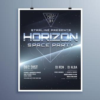 Universum-stil raum party musik-event-flyer für neues jahr