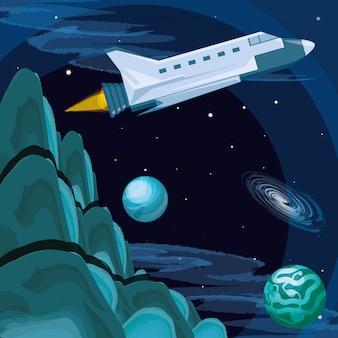 Universum und weltraumrakete fliegen