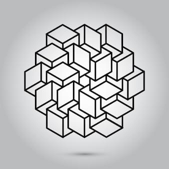 Unmöglicher geometriesymbolvektor auf grauem hintergrundheilige geometriesymbole und signes vektorillust...