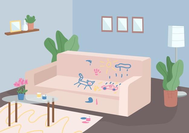 Unordentliche flache farbillustration des wohnzimmers