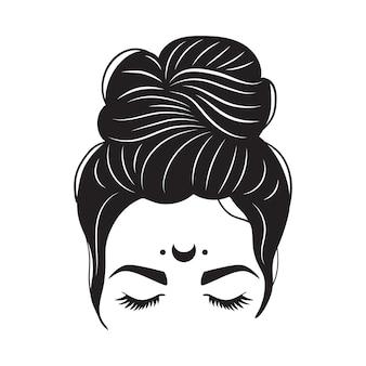 Unordentliches brötchen und mond der mystischen frau. frauensilhouette mit haaren und langen wimpern