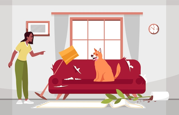 Unordentliches wohnzimmer und ungezogene hundehalbillustration