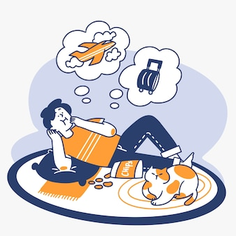 Unproduktive teen tagträumen über reisen doodle illustration