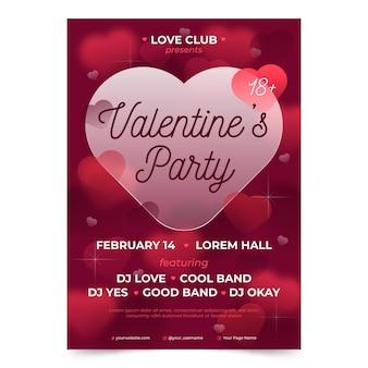 Unscharfe valentinstag party flyer vorlage