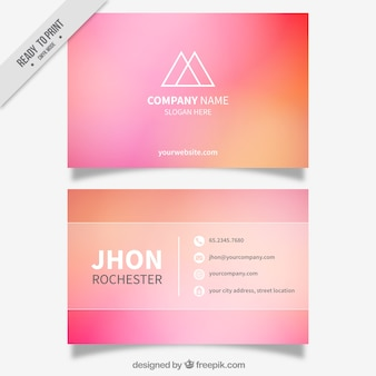 Unscharfe visitenkarte in rosa und orange töne