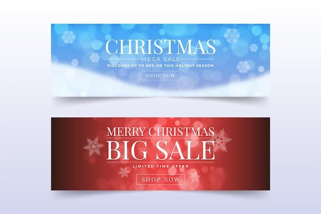 Unscharfe weihnachtsverkaufsbannerschablone