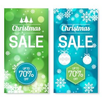 Unscharfer weihnachtsverkaufs-fahnensatz