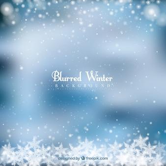 Unscharfer winterhintergrund in einem gefrorenen rahmen