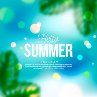 Unscharfes bild mit hallo-sommer-schriftzug