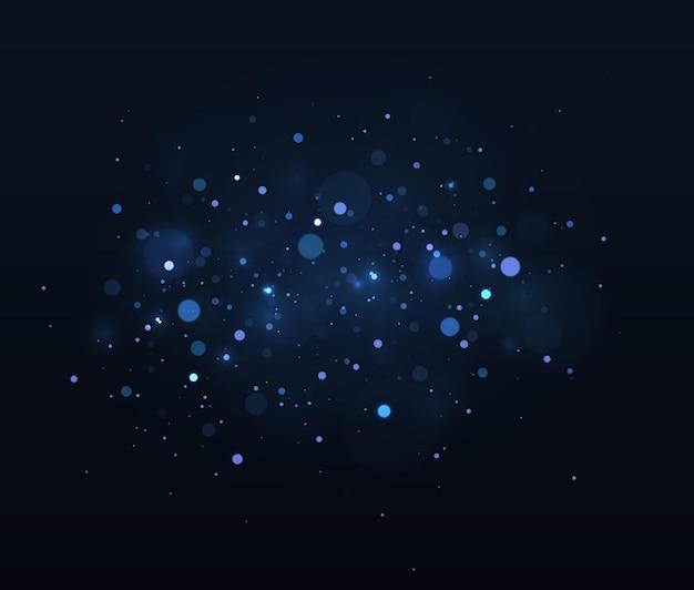 Unscharfes bokeh-licht auf dunklem hintergrund abstrakter glitzer defokussiert blinkende sterne und funken