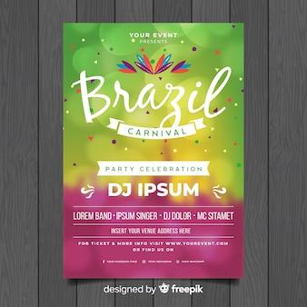 Unscharfes brasilianisches karnevalsparteiplakat der kreise