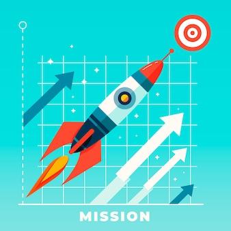 Unsere mission raketenschiff illustration