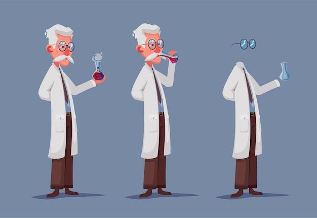 Unsichtbare wissenschaftlercharakterillustration