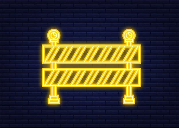 Unter bau barriere. rneon-stil. zaun des gebäudes oder der reparaturarbeiten. vektorgrafik auf lager.