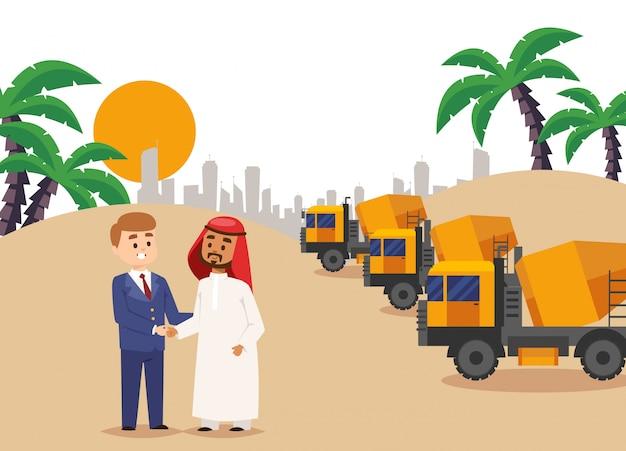 Unter bau, bauvereinbarung handshake-illustration. geschäftsmann-partnerschaftsvertrag mit dem arabischen mann, gebäude