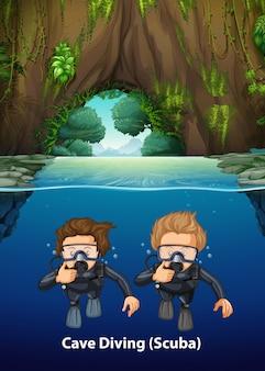 Unter cave scuba diving scene