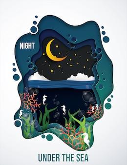 Unter dem meer in der nacht