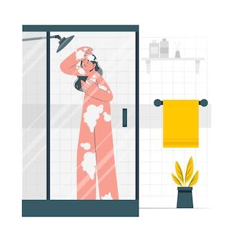 Unter einer dusche konzeptillustration
