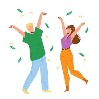 Unter geldregen tanzenden mann und frau vektor. glück junge und mädchen tanzen unter geldregen, bargeld-banknoten und münzen, die vom himmel fallen. charaktere finanzen vermögen wohnung cartoon illustration