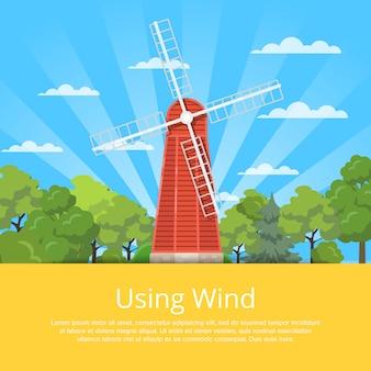 Unter verwendung des windplakats mit hölzerner alter windmühle