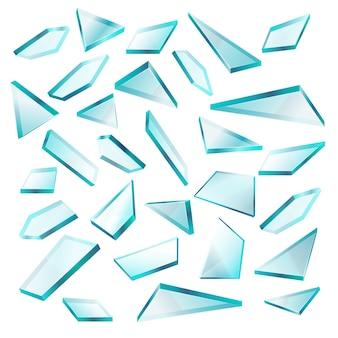 Unterbrochene glasscherben lokalisiert auf weißem vektorsatz